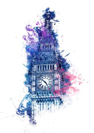 acuarela colorido de la torre del reloj Big Ben en Londres Westminster con salpicaduras de color azul, púrpura y rosa brillante sobre la parte superior de la fachada gótica para una tarjeta, un cartel o el diseño de recuerdo