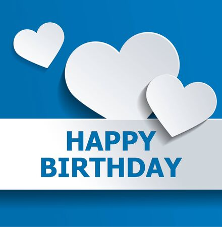 cut outs: White Hearts and Banner Against Blue Background for Happy Birthday Concept Design.