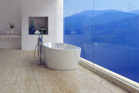 Freestanding bathtub with a panoramic mountain view through a glass wall in a luxury modern bathroom interior, 3d render Stock Photo