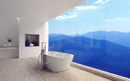 Luxury modern bathroom interior with a free standing tub overlooking a spectacular view of mountain ranges through a glass wall, 3d render