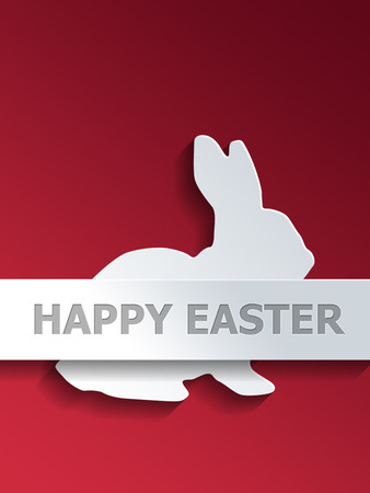 middle easter: Cut out sitting rabbit profile over red background with Happy Easter label on the middle section