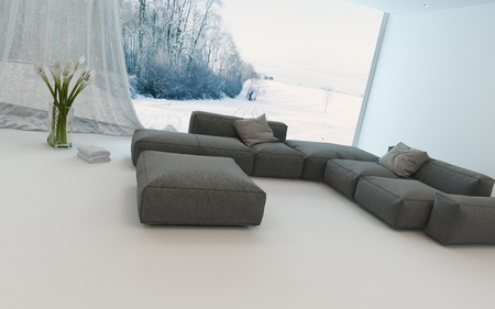 view of a spacious living room: Bright airy winter living room interior with a cozy seating corner with sofas in front of view windows overlooking a winter garden, 3d render
