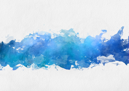 centred: Artistic blue watercolor splash effect template with a band of irregular blue paint centred over a textured paper background Stock Photo