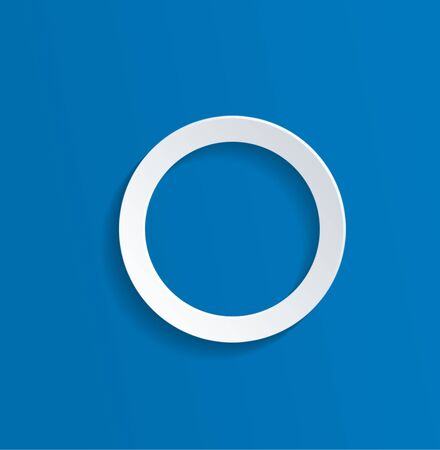 abstract circles: Conceptual White Hollow Circle Against Blue Background with Copy Space.