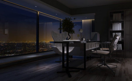 Empty dimly lit interior of a home office at night with a modern desk overlooking a city through a large view window. 3d rendering