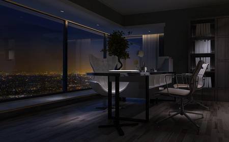 Leeg slecht verlichte interieur van een kantoor aan huis 's nachts met een modern bureau met uitzicht op een stad door een groot venster. 3D-rendering