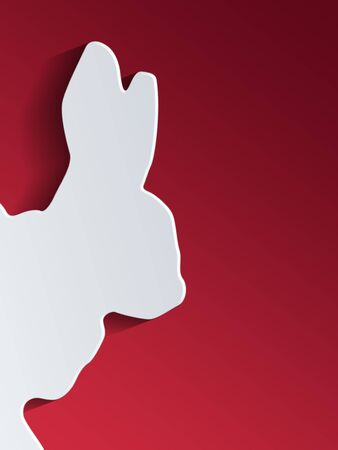 out of shape: Cut out rabbit head shape entering side of background with red gradient for copy space