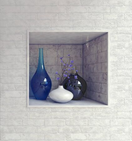 recess: Rectangular wall recess with hand blown blue glassware and ceramics in a textured white brick wall in a luxury house interior, 3d render Stock Photo