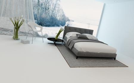 divan: interior del dormitorio moderno fresco con alcatraces frescas y una cama doble con vistas a un jardín de invierno a través de una gran ventana de vista, 3d Foto de archivo