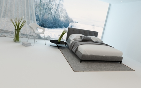 Modern cool bedroom interior with fresh arums and a double bed overlooking a winter garden through a large view window, 3d render