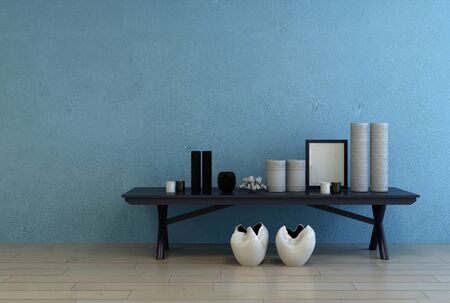 frame wall: Modern ceramics and empty simple black picture frame on a small black side table against a blue wall with copy space, 3d rendering