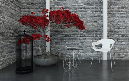 Modern living room or waiting room interior with a texture grey brick wall, red potted plant, bird cage, tables and modular chair, arranged in a corner, 3d render Stock Photo