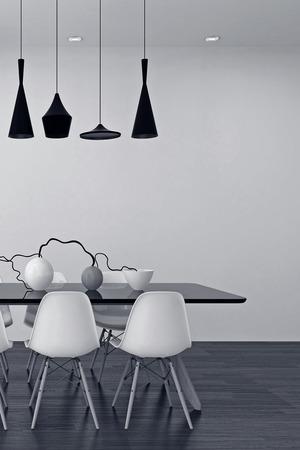 Moderne schwarze und weiße Esszimmer Interieur mit einer eleganten Reihe von Lampen über einem Tisch mit modularen Stühlen und einem stilvollen Mittelstück von Vasen und Zweigen, 3d render