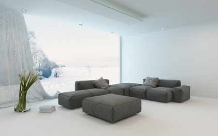 Bright airy winter living room interior with a cozy seating corner with sofas in front of view windows overlooking a winter garden, 3d render