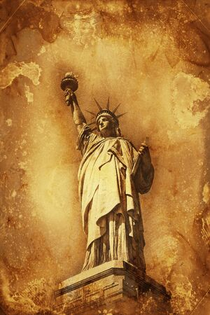 holding aloft: Grunge colorful yellow and brown watercolor paint effect Statue of Liberty holding aloft the torch of Freedom with copy space for a travel or tourism themed concept