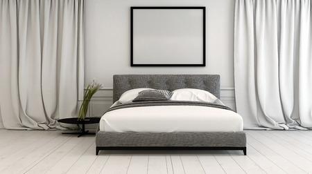 dormitorio moderno entre en tonos neutros con un doble cama de estilo diván entre cortinas de longitud larga del piso en un piso de parquet pintado de color blanco, el marco en blanco anteriormente, la representación 3d