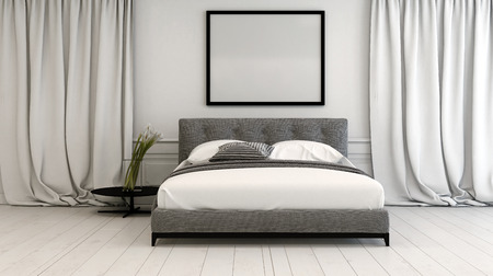 Modern bedroom interior in neutral tones with a double divan style bed between long floor length drapes on a white painted parquet floor, blank picture frame above, 3d rendering Banque d'images