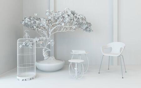decoracion mesas: esquina decoración monocromática en un interior clásico con una jaula de pájaro vacía, silla planta en maceta y pequeño nido de mesas en blanco fresco, 3d