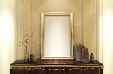 classic living room: Stylish empty gold frame for your picture or artwork standing on a wooden antique cabinet in a classic living room interior with panelling, 3d render Stock Photo