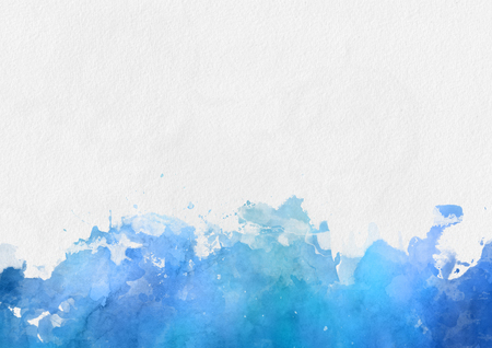 Artistic colorful blue watercolor paint border with splash effect and blank white copy space above