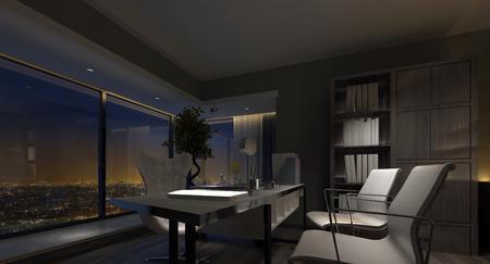 Spacieux inter de bureau à domicile de luxe dans la nuit avec un éclairage tamisé soulignant la table et des chaises et une vue fenêtre donnant sur les lumières de la ville. rendu 3d Banque d'images - 52465468