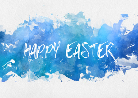 Happy Easter greeting card design on a band of colorful blue watercolor paint with random splash effect on a textured off-white art paper with copy space