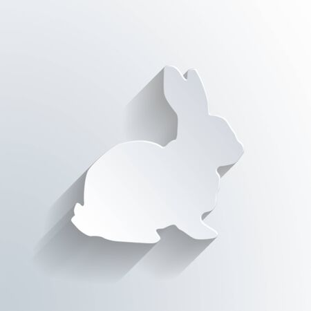silhouette lapin: White Easter Bunny Rabbit Card Background. 3d Rendering.