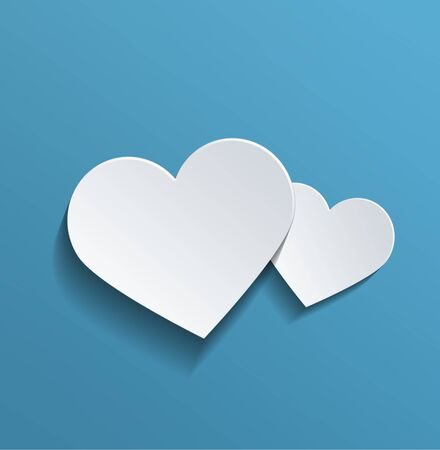 paper heart: Two Conceptual White Heart Shapes with Copy Space Against Sky Blue Background for Valentines Day. Stock Photo
