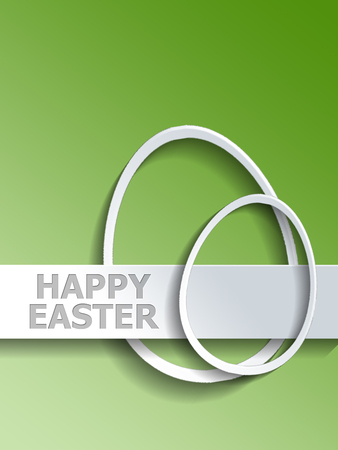 egg shaped: Abstract pair of different shaped egg outlines next to Happy Easter label over green gradient background