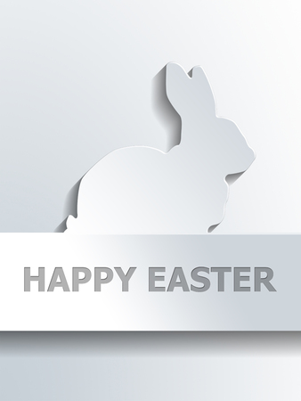 spring out: Silhouette of bunny rabbit profile shape above blank label with Happy Easter text