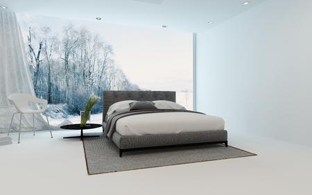 Moderne chambre froide entre avec arums frais et un lit double donnant sur un jardin d'hiver à travers une grande fenêtre de vue, 3D, render Banque d'images