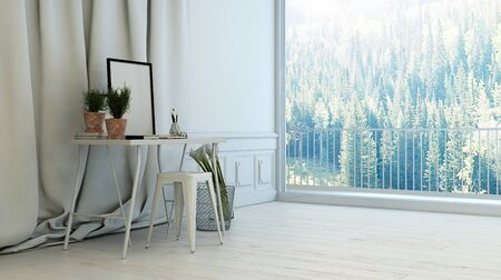 Minimalist white living room interior overlooking forests through a large view window with balcony with a small writing table with a blank picture frame against long drapes, 3d rendering