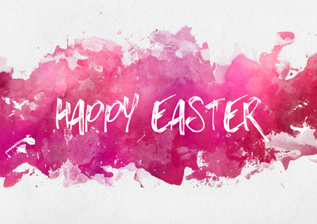 Colorful pink Happy Easter design template on an abstract band of hand painted watercolor paint with splash effect on textured white paper with copy space Stock Photo