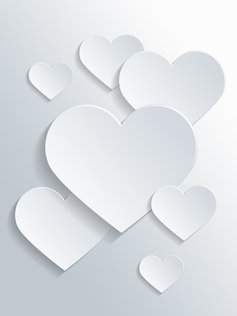 white heart: Assorted White Heart Shapes with Copy Space for Valentines Day Concept Design.
