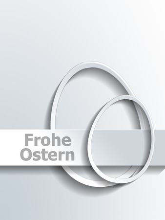 egg shaped: Abstract pair of different shaped egg outlines next to Frohe Ostern label over gray gradient background Stock Photo