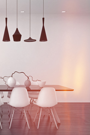 dining table and chairs: Modern black and white dining room interior with an elegant row of lamps above a table with modular chairs and a stylish center piece of vases and twigs, 3d render