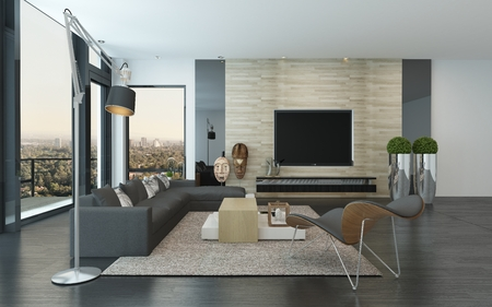 view of a spacious living room: Comfortable spacious modern living room interior with large view windows with a view of the city and an outdoor patio and a comfortable lounge suite and chairs indoors, 3d render Stock Photo