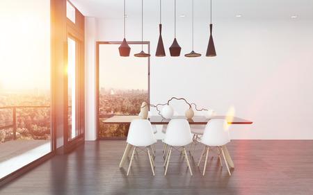 angolo cucina contemporanea in un salotto con quattro plafoniere eleganti sopra un tavolo e sedie con vista grandi finestre con vista sulla città, rendering 3d