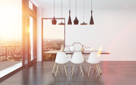 dining table and chairs: Contemporary dining corner in a living room with four stylish overhead lights above a table and chairs with huge view windows overlooking the city, 3d render