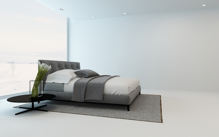 stark: Modern minimalist bedroom interior with an arrangement of white arum lilies alongside a double bed in front of a bright window and patio, 3d render