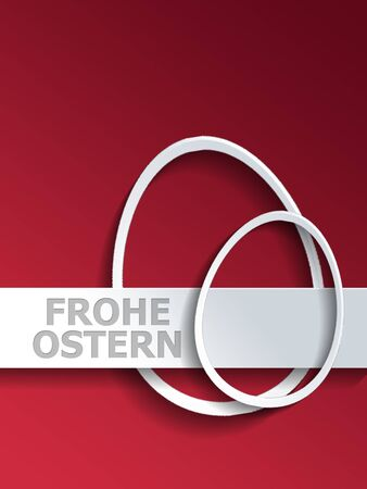 egg shaped: Symbolic pair of different shaped egg outlines next to Frohe Ostern label over red gradient background