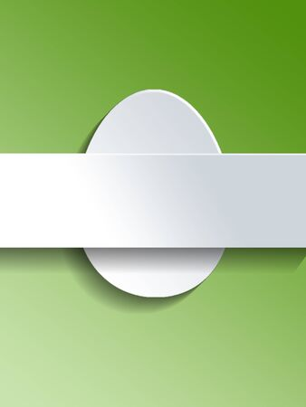 cut outs: Blank Easter egg template with white cut outs of an Easter Egg and blank ribbon banner with copy space for your holiday greeting over a green gradient background