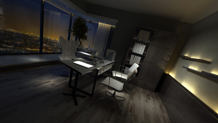 home office interior: Empty dark interior of a stylish home office dimly lit by side lights with a desk and chairs in front of a view window overlooking town. 3d rendering