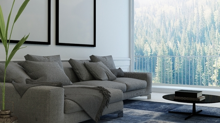 upholstered: Comfortable living room interior with upholstered armchairs and blank picture frames on the wall. 3d rendering