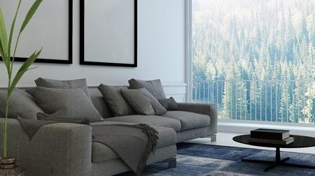 #52465884   Gemütliches Wohnzimmer Zwischen Mit Polstersesseln Und Leere  Bilderrahmen An Der Wand. 3D Rendering