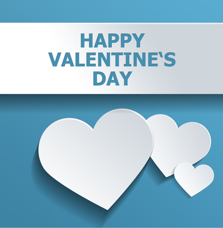 simple sky: Simple Happy Valentines Day Concept Design Emphasizing White Hearts Against Sky Blue Background. Stock Photo