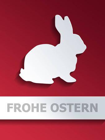 lapin silhouette: D�coupez forme de lapin plac� sur le centre de fond avec d�grad� rouge et l'�tiquette Frohe Ostern