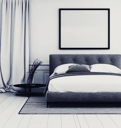 Stijlvol grijs en wit slaapkamer interieur met close-up details van een gestoffeerde tweepersoonsbed en tapijt onder een grote lege fotolijst met elegante vloerlengte gordijnen en een plant, 3D-rendering Stockfoto