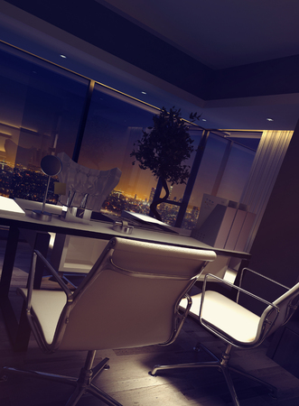 affluence: Dimly lit empty luxury home office interior with a desk and chairs overlooking city lights at night. 3d rendering