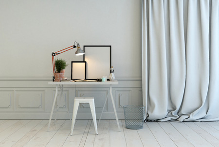 modern frame: Writing table in a classic white interior with white paneling on the walls and parquet floor and long luxurious floor length drapes, blank picture frames illuminated by a lamp, 3d rendering